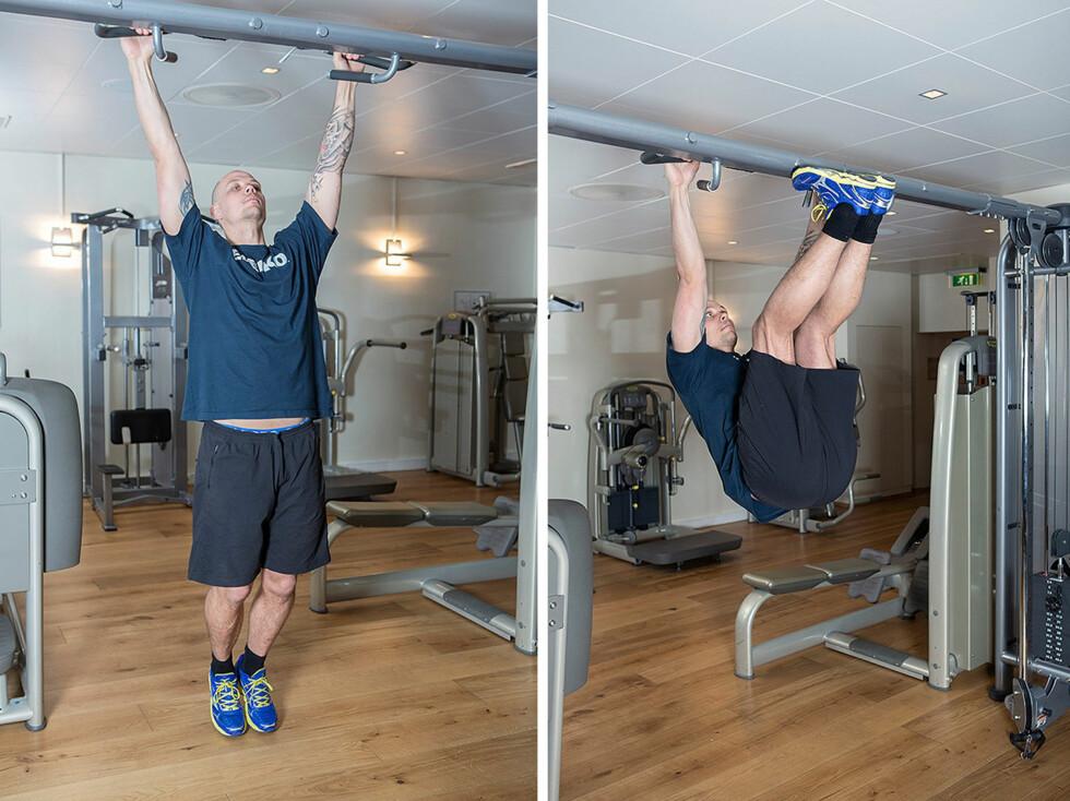 HENGENDE BEINHEV: Start med å henge med strake armer, len deg en anelse bakover og press brystkassen opp samtidig som du løfter bena opp (foto: Øyvind Heia). Foto: Øyvind Heia
