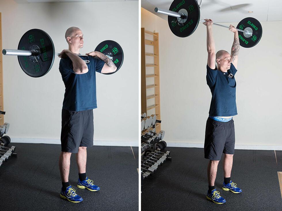 SKULDERPRESS: Pass på at du har riktig teknikk når du utfører denne øvelsen - ryggen skal blant annet være rett (foto:Øyvind Heia).