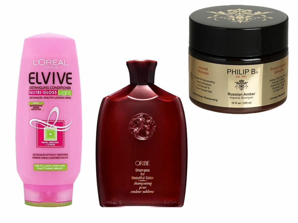 BLANT SJAMPOENE TESTET:Studien viste at hår ble like rent av L'Orèal Elvive Nutri-gloss Light sjampo, som du får kjøpt i butikken, som sjampoene fra dyrere merker som Philip B og Oribe. Foto: Produsentene