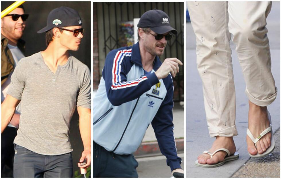 MENNS MOTETABBER: Nei, gutter. Ikke kle dere slik! Her går skuespillerne Taylor Lautner (t.v), Eric Dane (midten) og Ed Westwick (t.h) rett i motefella. Foto: All Over Press