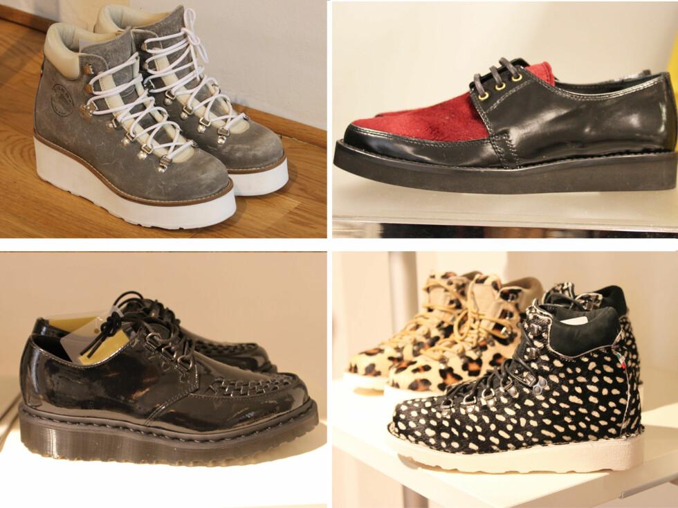 PLATÅ HOLDER KOKEN: Platå på støvletter og sko holder koken - også utover høsten. Her er sko fra Diemme (ankelstøvlettene), Dr. Martens (nederst til venstre) og Hugo Boss.  Foto: A. C. Blystad/ S. T. Strand