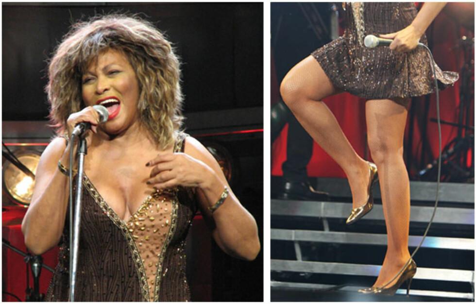 SPREK DAME: Tina Turner er Vogues eldste covermodell noen sinne. Disse bildene er fra 2009, da Turner opptrer første kveld på sin Europa-turne i Køln.  Foto: All Over Press