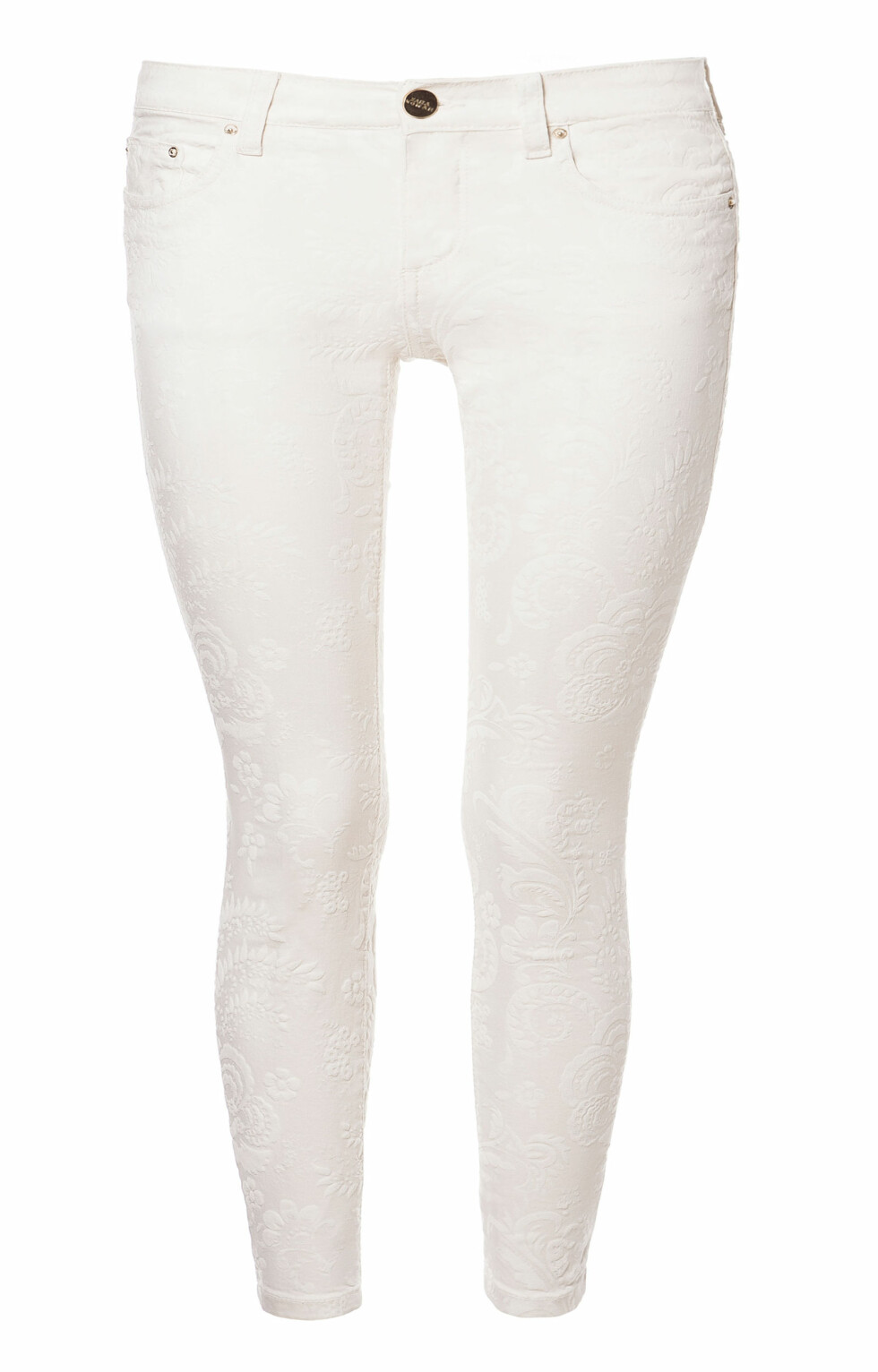 Mønstrete skinny-jeans (kr 560, Zara). Foto: Produsentene