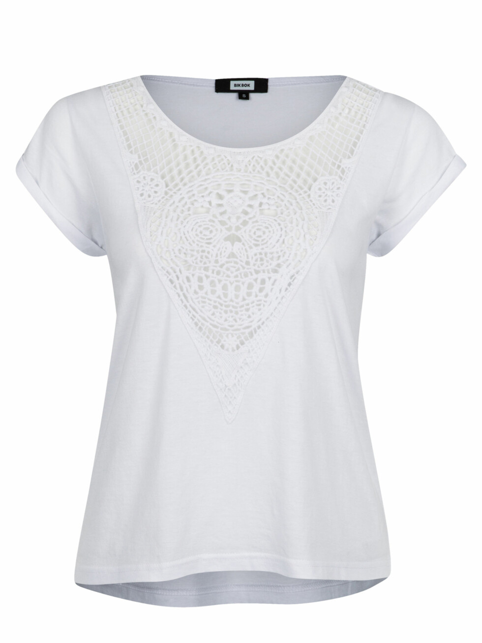 T-skjorte med blonder (kr 100, Bik Bok). Foto: Produsentene