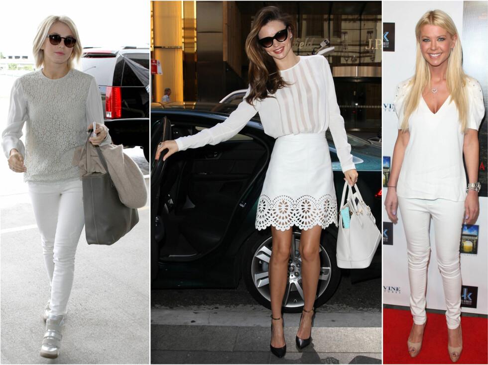 HVERDAGSFINE: Danseren Julianne Hough, Victorias Secret.modellen Miranda Kerr og skuespiller Tara Reid har omfavnet den hvite trenden. Foto: All Over Press