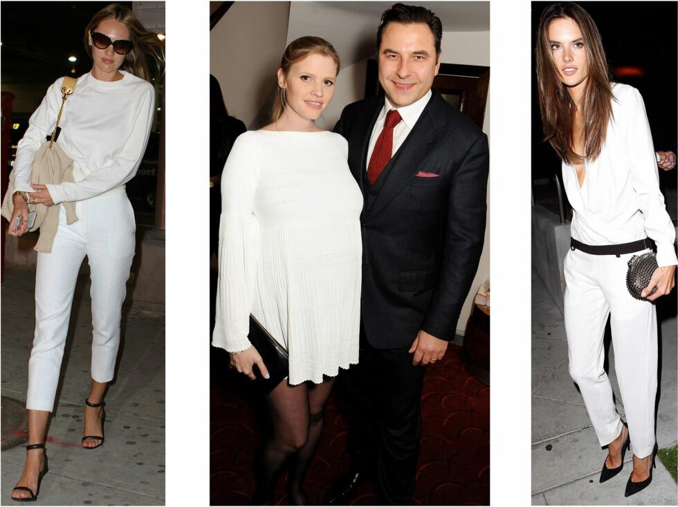 FIN I HVITT: Victorias Secret-modellene  Candice Swanepoel og Alessandra Ambrosio (til venstre) vet hvordan de skal mestre den hvite trenden. Det gjør også den gravide supermodellen Lara Stone.  Foto: All Over Press