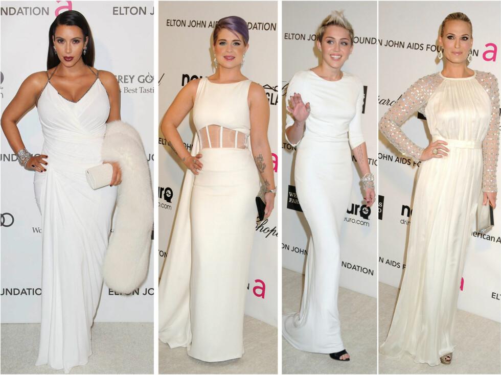 KOM I HVITT PÅ FEST: Kim Kardashian, Kelly Osbourne, Miley Cyrus og Molly Sims ser flotte ut i sine hvite antrekk. Foto: All Over Press