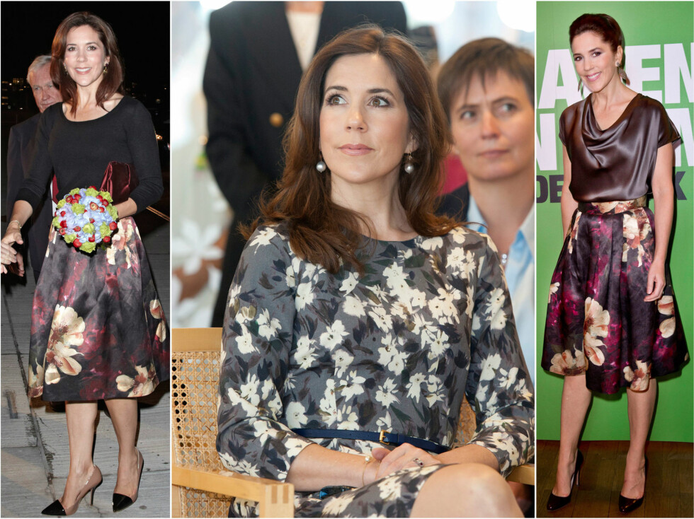 <strong>H&M-FAN:</strong> I september i fjor viste kronprinsesse Mary seg i skjørt og kjole fra H&Ms Conscious Collection ved flere anledninger.  Foto: All Over Press