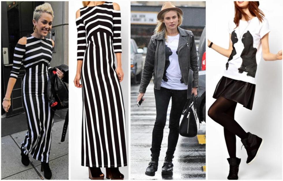 HEKTA PÅ NETTSHOPPING: Miley Cyrus ble nylig observert i en stripete kjole til 370 kroner fra Asos. Til høyre ser du moteikonet Diane Kruger iført t-skjorte med katteprint til 140 kroner. Foto: All Over Press