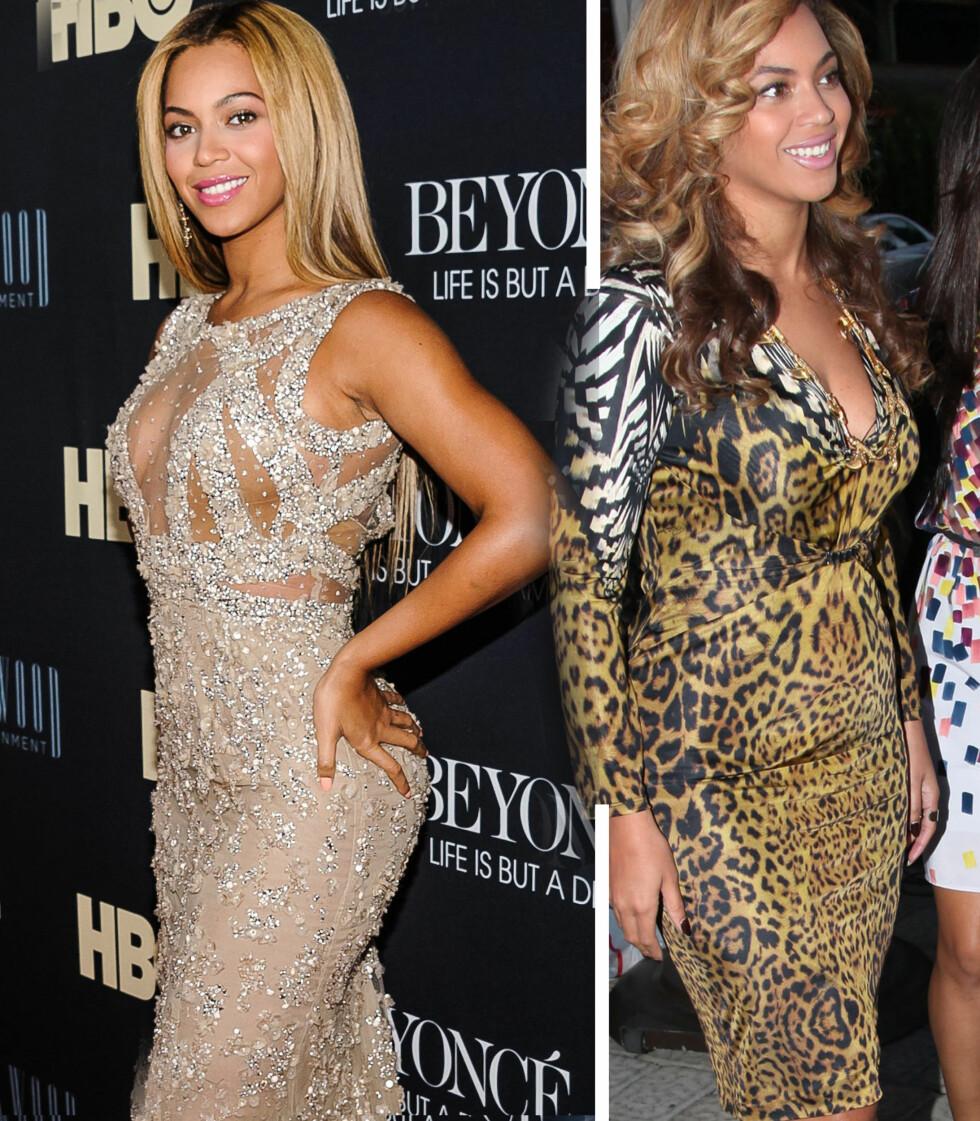 SE FORSKJELLEN: Til venstre ser vi hvordan Beyonce ser ut nå. Til høyre ser du sangerinnen like etter fødselen. Foto: All Over Press