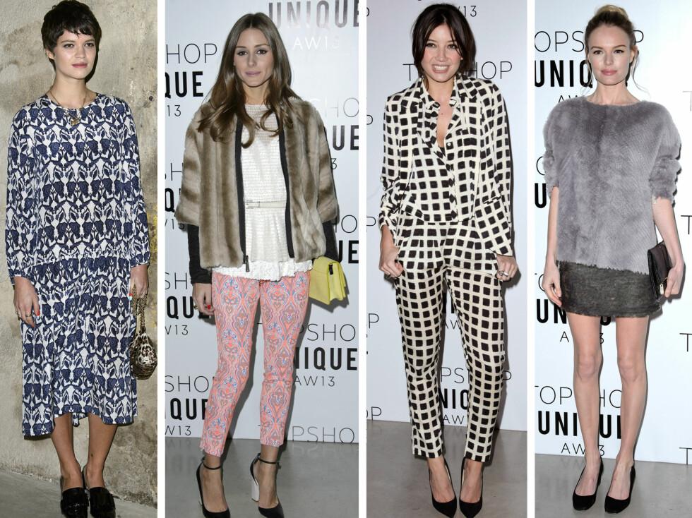 FRONT ROW: Pixie Geldof, Olivia Palermo, Daisy Lowe og Kate Bosworth var blant kjendisene som så Topshop-visningen.  Foto: All Over Press