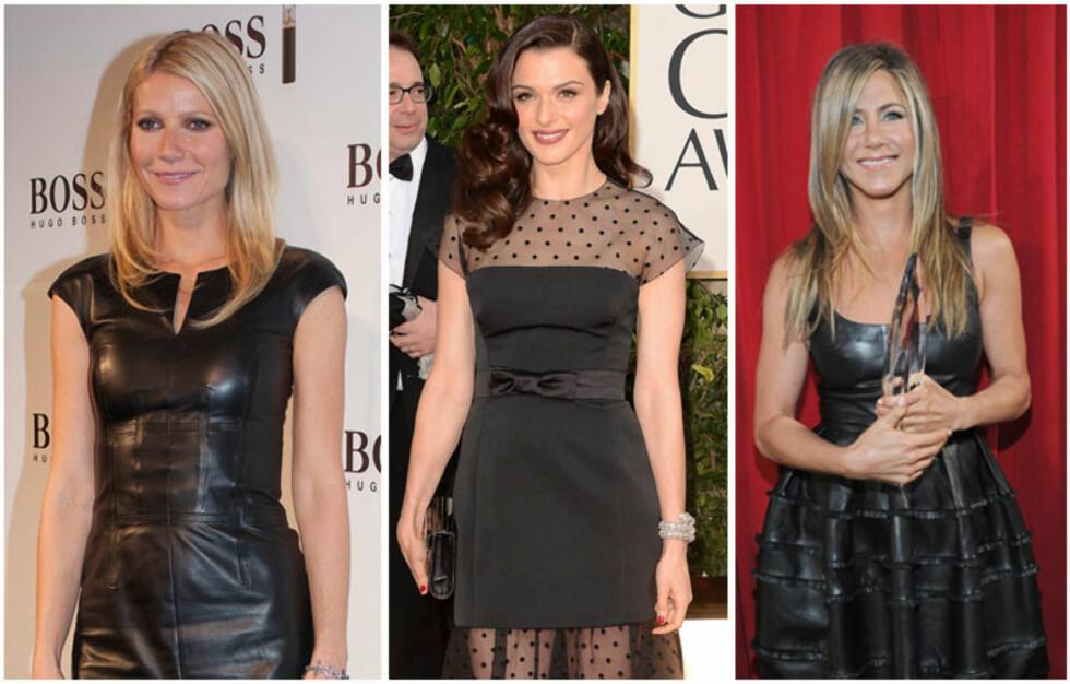 LBD: Little black dress er en sikker vinner, også blant Gwyneth Paltrow, Rachel Weisz og Jennifer Aniston.  Foto: All Over Press