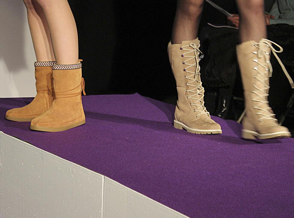 SETT PÅ CATWALKEN: Måneboots, Mukluks og indianerinspirerte sko er tilbake og i år overvinner komfort utseendet. Foto: Benedicte Haugaard