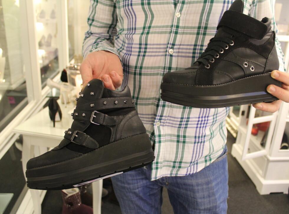 """POPULÆRT TIL HØSTEN: Sneakers med plattformsåle er spådd til å bli med populært enn noensinne. Disse kjenner vi vel igjen? Inspirert av 90-tallets """"Buffalo"""" boots. Skoene som er avbildet er fra Stella. Foto: Benedicte Haugaard"""