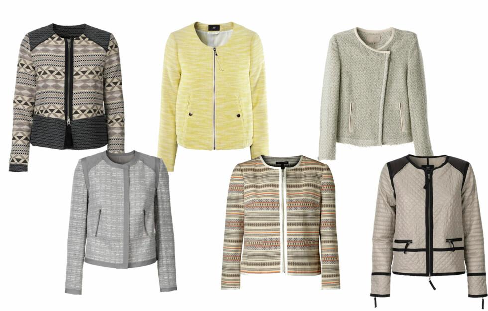 BOUCLÉJAKKE: En fin jakke spriter opp hele antrekket! Få de beste kjøpe- og stylingtipsene videre i saken. Foto: Produsentene