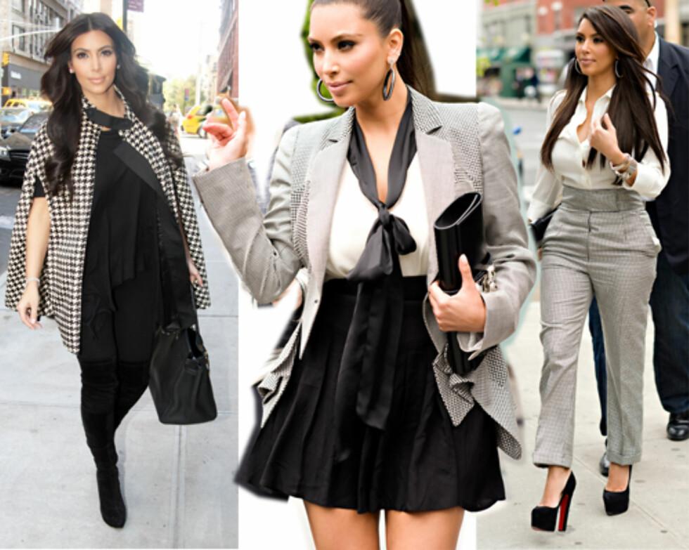HUN ELSKER DET: Kim Kardashian har åpenbart fått dilla og har blitt observert med både cape, jakke og bukse med hundetannsmønster i det siste.  Foto: All Over Press