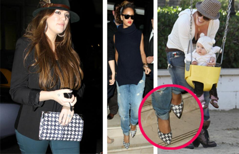 TILBEHØRSDILLA: Khloe Kardashian, Rihanna og Pink har gått for henholdsvis veske, sko og hatt med hundetannsmønster. En klassiker som spriter opp et ellers enkelt antrekk. Foto: All Over Press