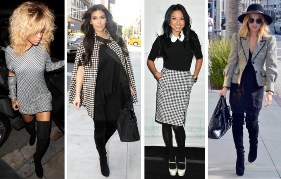 KJENDISFAVORITT: Rihanna, Kim Kardashian, Tracy Reese og Rachel Zoe er alle trendsettere, og se hvilket mønster de har lagt sin elsk på i det siste.  Foto: All Over Press