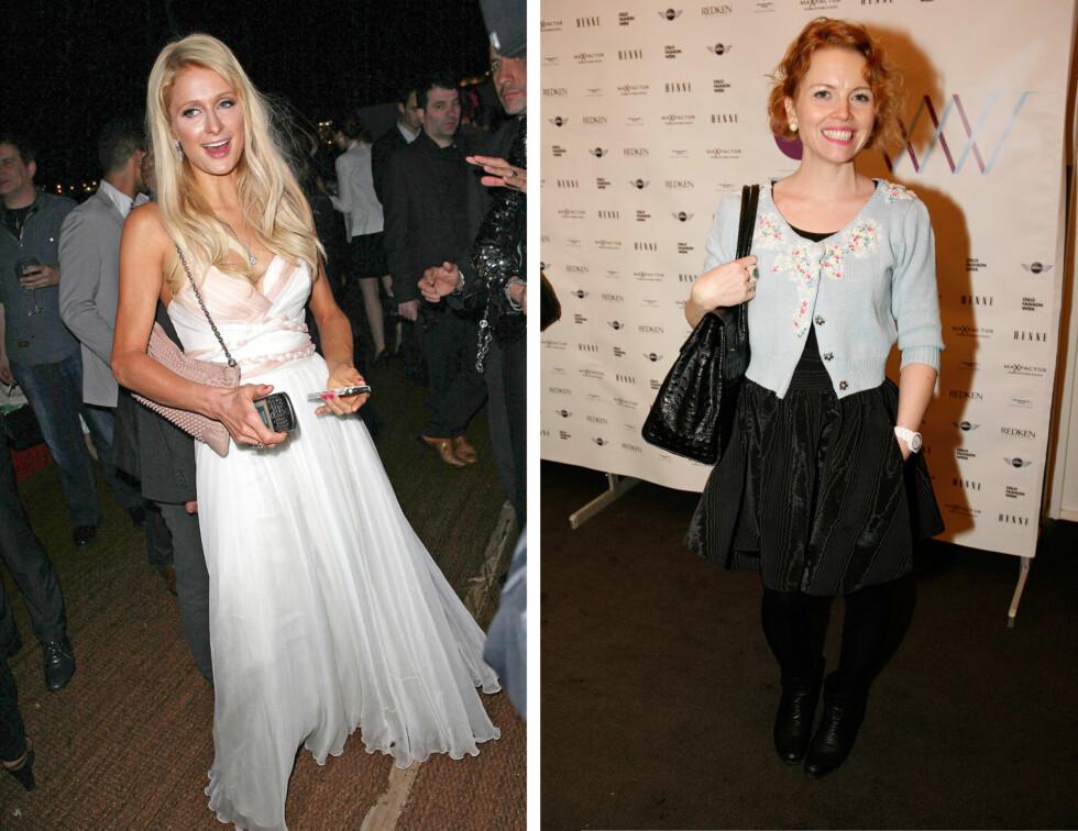 STOR STAS: Cecilie Melli (til høyre) synes det er stor stas at Paris Hilton valgte å bruke en av hennes kjoler. På bildet til venstre ser du hele kjolen og alle detaljene.  Foto: Stellapictures