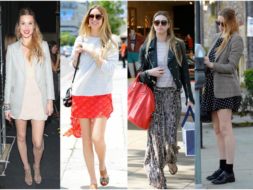 TIPS: Ifølge Whitney er en oversized blazer over skjørt eller kjoler - ala bildet til venstre og til høyre, en kul trend til sommeren. Ellers er hun veldig for mønster, baggy bukser, luftige bluser og søte sommerkjoler den kommende sesongen.  Foto: All Over Press