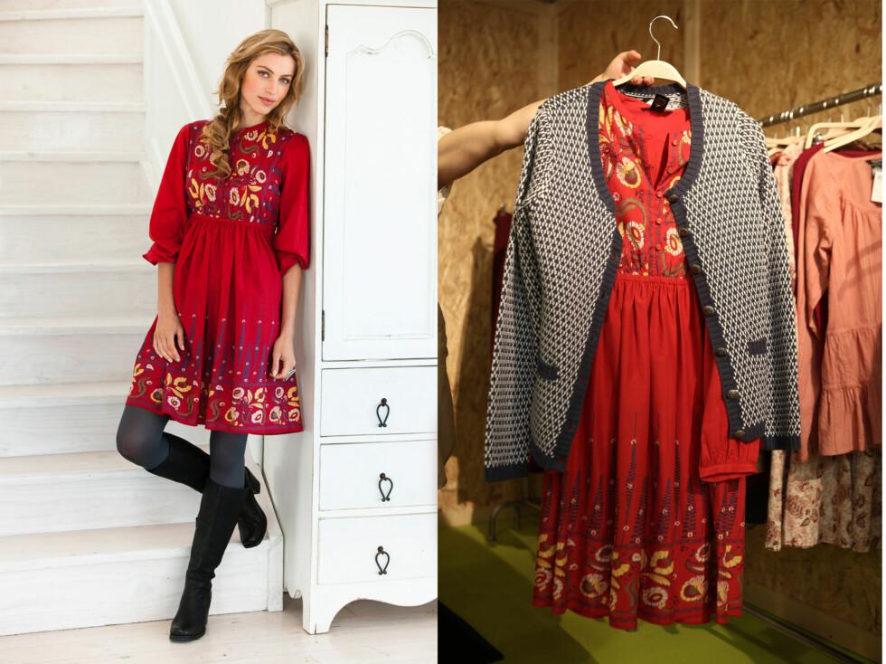FOLKLORISTISK: Flere av plaggene gir assosiasjoner til nordiske, folkloriske tradisjoner, som denne røde kjolen. Moteekspert Camilla Ohlsson foreslår å bruke den alene - som modellen til venstre, eller kombinere den med røff, mønstret strikk, som på bildet til høyre.  Foto: Per Ervland