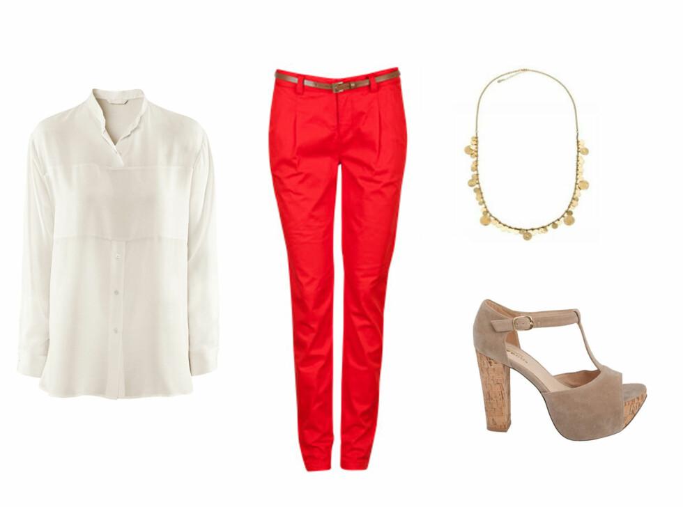 Hvit bluse (kr 349/H&M), rød bukse (kr 299/Cubus), halsskjede (kr 159/Accessorize) og sko (kr 499/Bianco). Foto: Produsentene