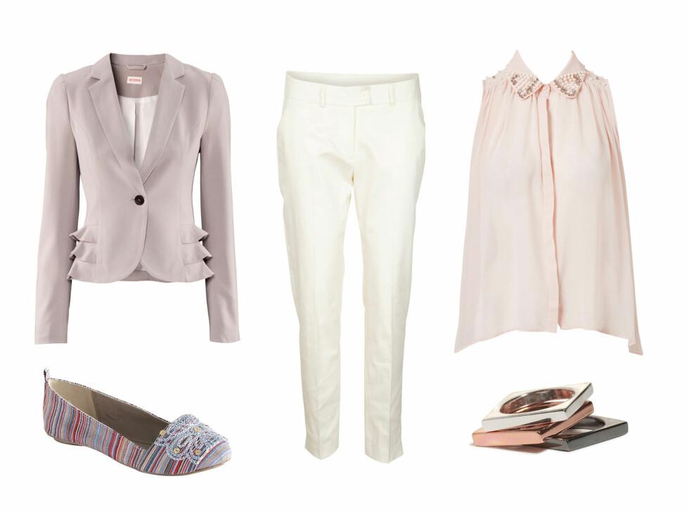 Blazer (kr 399/H&M), ballerinasko (kr 399/Ellos), hvit bukse (kr 400/Vila), ermeløs bluse (kr 299/Vero Moda) og ringer (kr 49,50/Lindex). Foto: Produsentene