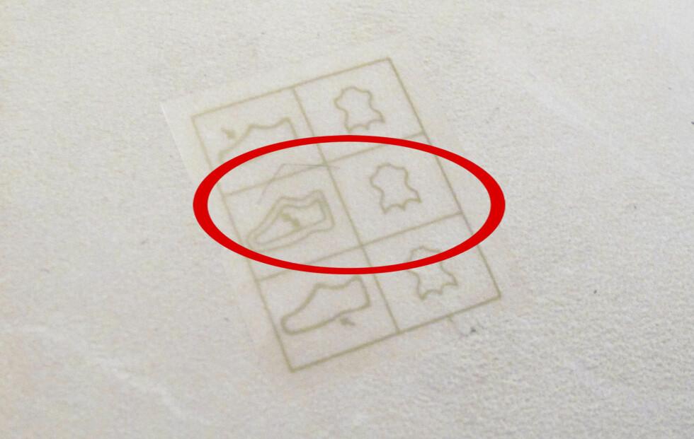 VIKTIGSTE I MIDTEN: Det midterste symbolet viser hvilke materialer som er brukt på innsiden av skoen - og det bør helst være skinn. Foto: Per Ervland
