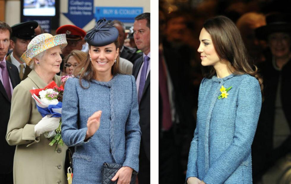 GJENBRUKSPRINSESSE: Klærne til Kate koster, men hun bruker dem ofte. Her ser du Kate i sin M Missoni-jakkekjole som hun har brukt to ganger på to måneder.  Foto: All Over Press