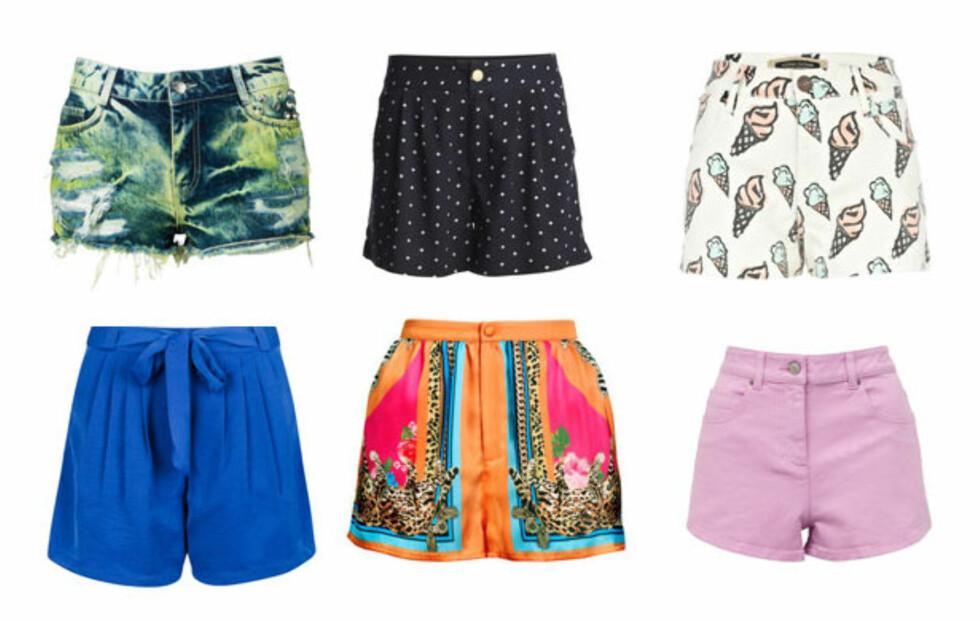 FINN DIN FAVORITT: Sommerens korteste plagg finnes i mange varianter. Se styling- og kjøpetips lenger nede i saken! Foto: Produsentene