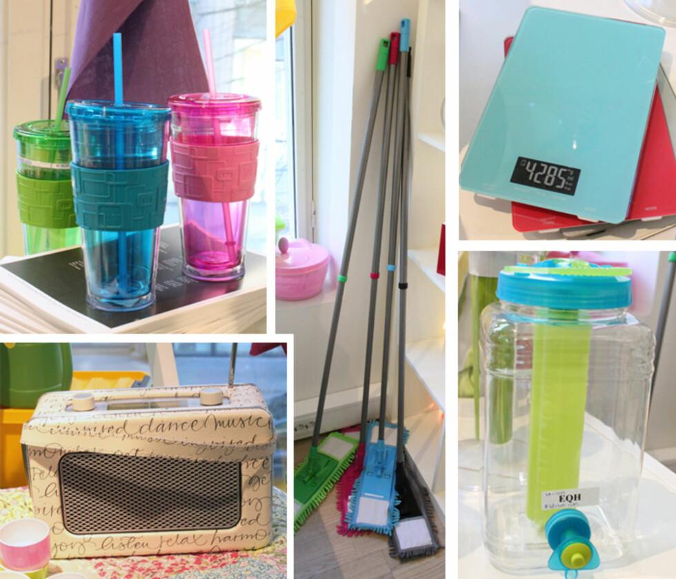 FRISKE NYHETER: Nå kan sommeren begynne. Store plastglass med sugerør (kr.49), radio (kr.399), fargerik mopp, kjøkkenvekt (kr.149) og plastdunk til drikke (kr.99). Foto: Tone Ra Pedersen