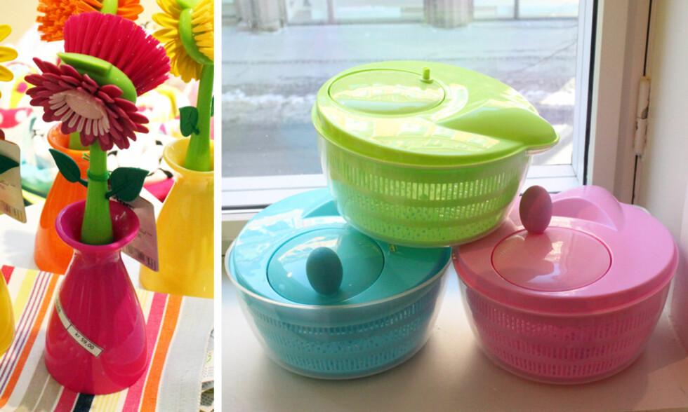 PÅ KJØKKENET: Hva med en blomsterformet oppvaskkost (kr.59) eller salatslynge? Foto: Tone Ra Pedersen