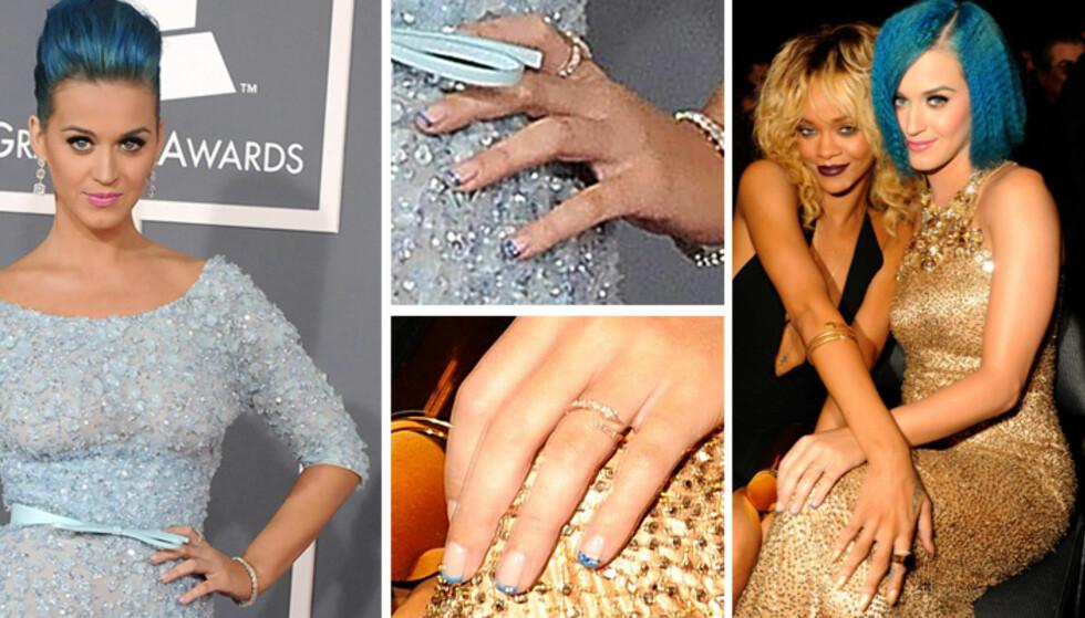 BLÅ TUPPER: Popstjerne Katy Perry på Grammy Awards. Foto: All Over Press
