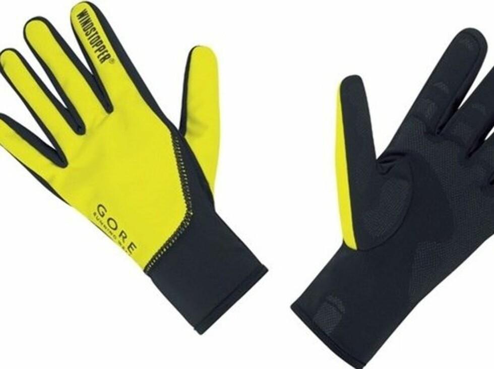 Knall gule og synlige løpehansker fra Gore. 450 kroner fra Loplabbet.no.  Foto: Produsenten