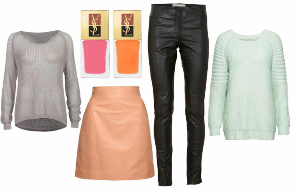 <strong>SILJES BESTE KJØP:</strong> - Gode pastellkjøp er et skjørt i en dus aprikosfarge (kr.800/H&M), en mintgrønn genser (kr.499/H&M) og Manicure Couture Duo La Laque fra YSL i aprikos/rosa (kr.255). Og du kan trygt kombinere med plagg i svart, grått eller blått. Skinnbukse fra Vila (kr.1000/bestsellershop.com) og løsstrikket, grå genser (kr.299/Bik Bok). Foto: Produsentene