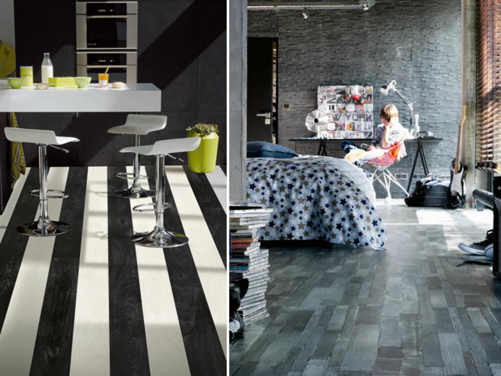 URBAN HAPPINESS: To av mønstrene i denne trenden - Black Hype White og Playstyle Jeans. Foto: Tarkett
