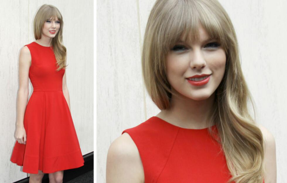 HOT I RØDT: Taylor Swift er mest kjent som countrystjerne, men 22-åringen har nå også en av stemmene i filmen Dr. Suess The Lorax, og det var på en pressekonferanse i forbindelse med dette at superstjernen troppet opp i denne røde kjolen.  Foto: All Over Press