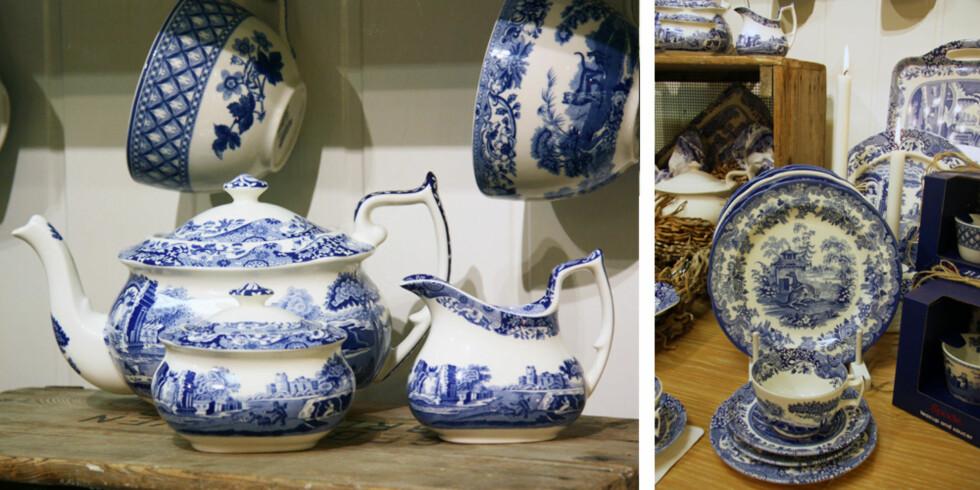 KLASSISK BLÅTT: Middagsservise fra Spode, inspirert av de populære servisene importert fra Kina på 1700-tallet. Foto: Tone Ra Pedersen