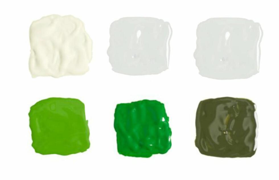 GRØNN: Det ser gjerne ikke slik ut, men alle disse er grønne - bare i ulike nyanser. Øverst fra venstre: Krystall, jadeite, pæresorbet, kelly, smaragdgrønn og stram militær. Foto: Fargerike