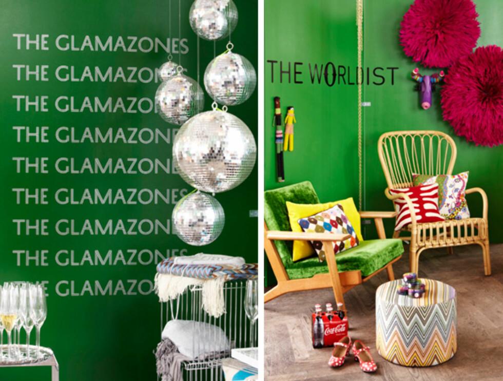 KUL EFFEKT: Spesielt litt knalle farger kan være stilig i taket, som nyansene smaragdgrønn (t.v) eller kelly (t.h). Foto: Fargerike