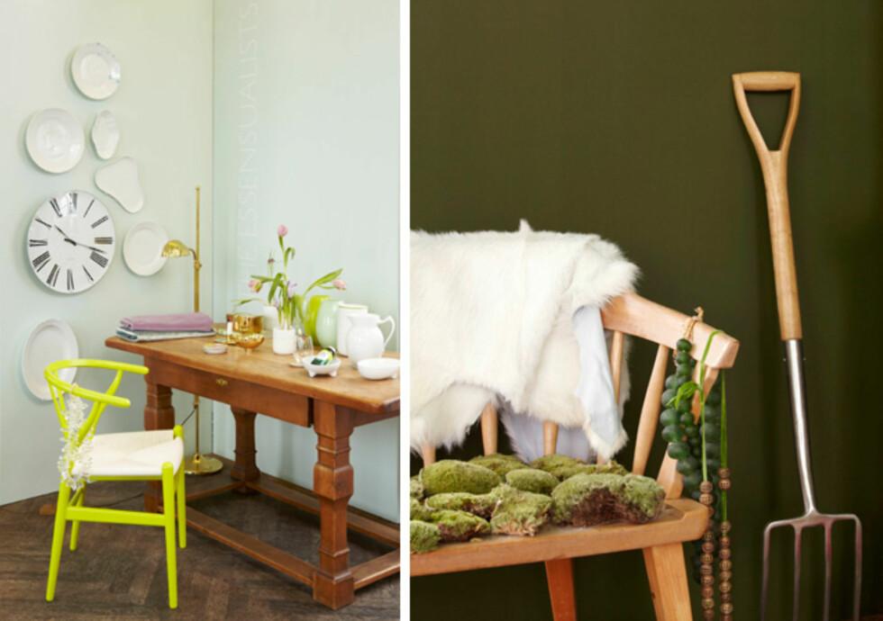 MER DISKRET: Grønnyansene jadeite (t.v) og stram militær er ikke fullt så knalske, hvis du foretrekker en roligere overgang fra hvitt. Foto: Fargerike