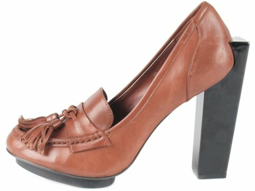 Brune sko i skinn, med spulpturell hæl fra United Nude. (Kr.2049/Brandos.no) Foto: Produsenten