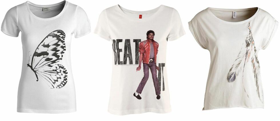 <strong>INSEKTER OG LEGENDER:</strong> Med stort svart sommerfugl (kr 100, Esprit), fra Michael Jacksons Beat It-skive (kr 150, H&M) og med indianerfjær (kr 200, Esprit). Foto: Produsenter