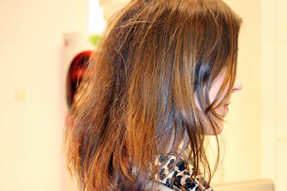<strong>SAMMENLIGNES MED KONGLER SOM MÅ LIMES OG LAPPES SAMMEN:</strong> - Du har ganske tørt hår, og det er litt ruglete å ta på de siste 15 centimeterne, sier Marte Bøstrøm, frisør og Education Manager for Matrix Europa, til KK.nos journalist Cecilie Leganger.