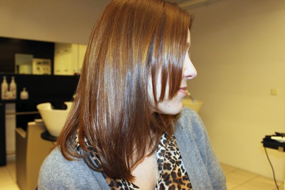 PENERE ENN DA JEG KOM? Ikke uventet ser håret litt sunnere ut etter behandlingen, og det dufter nydelig av orkideer.