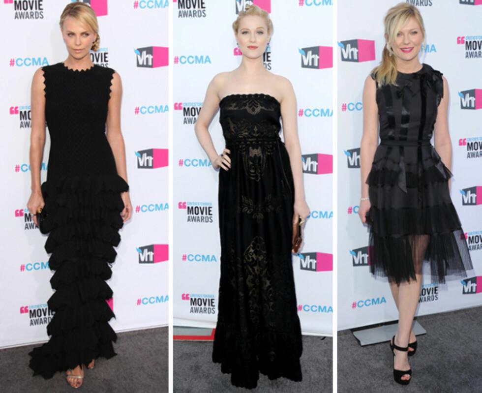 SEXY I SORT: (F.v) Charlize Theron, Evan Rachel Wood og Kirsten Dunst. Foto: All Over Press