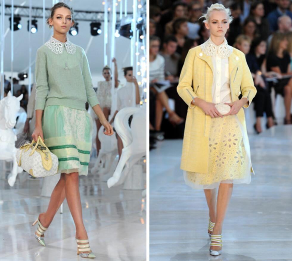 GRØNN OG GUL: Louis Vuittons vårkolleksjon i grønt og gult er hete fargefavoritter, ifølge makeupartisten.  Foto: All Over Press