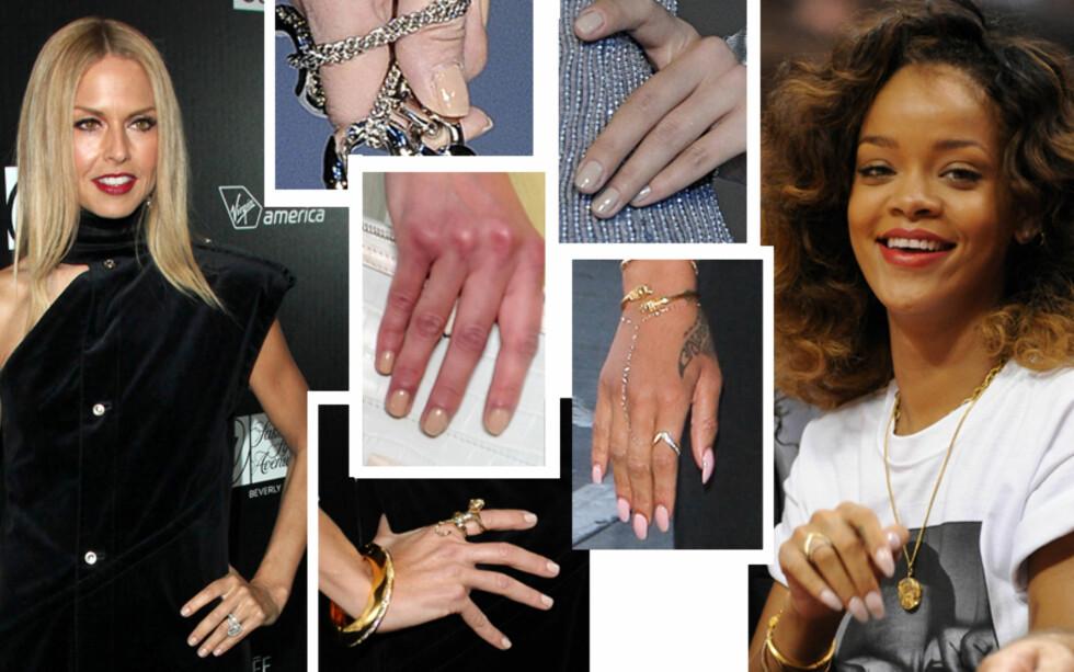 DUSE DAMER: Pink og pudder er hete trender på catwalken, og selvfølgelig også på neglene. Bilder fra Armanis vårvisning (øverst i midten) og Louis Vuitton (under). Kjendisstylist Rachel Zoe (t.v) og R&B-stjerne Rihanna har allerede malt neglene i duse toner. Foto: All Over Press