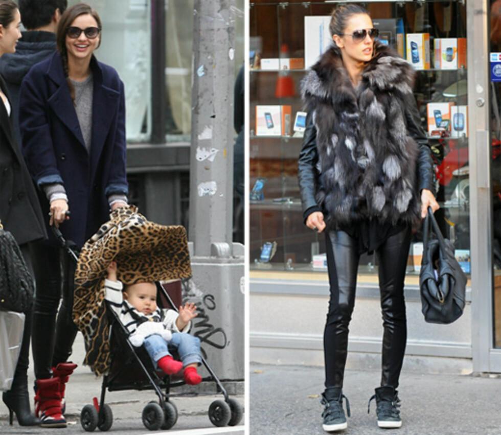 SKINNLEGGINGS: Modellene Miranda Kerr (t.v) og Alessandra Ambrosio går for skinn til sporty fottøy. Foto: All Over Press