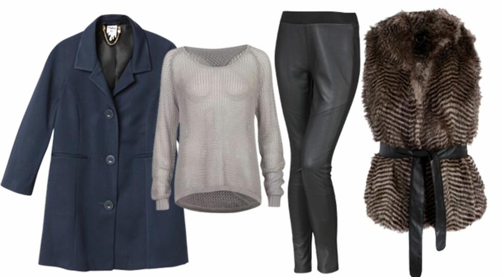 Marineblå kåpe (kr.800/Monki), løsstrikket grå genser (kr.299/BikBok), leggings (kr.350/Ellos.no) og fuskepelsvest fra Modström (kr.550/Nelly.com). Foto: Produsentene